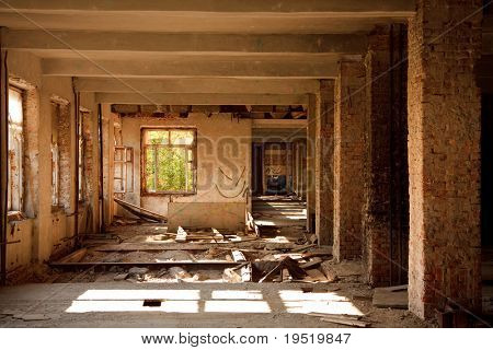 Lost city. The interior of an abandoned construction.