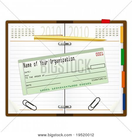 Organizer with pen and cheque book - an illustration for your design project.