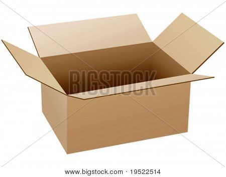 Isolated empty and opened cardboard box