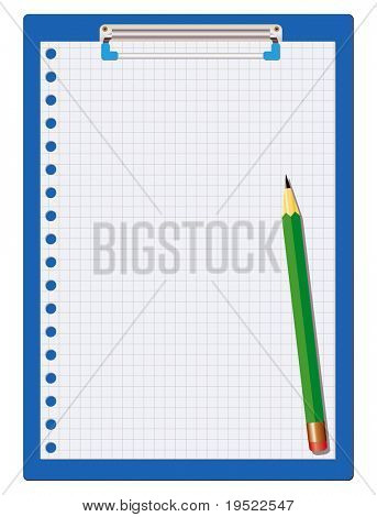clipboard isolated on white with a green pencil