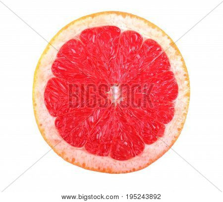 poster of Fresh juicy grapefruit, isolated on a white background, close-up. Half of fresh pink grapefruit. Ripe, juicy, fresh, organic slice of grapefruit. Half an appetising grapefruit.