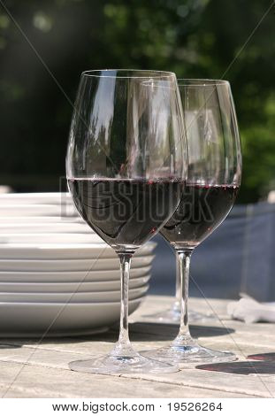 two glasses of red wine for outside dining