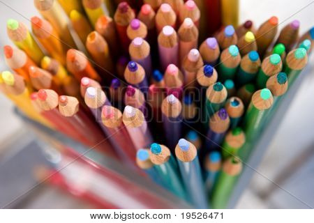 lots of pencil crayons - macro - narrow DOF