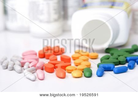 rainbow of pills & bottles