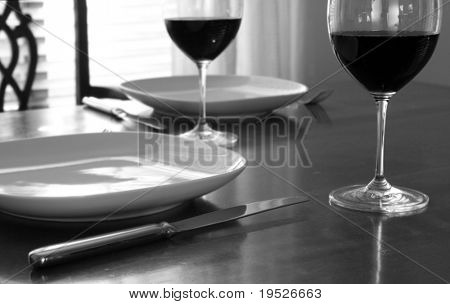 dinner setting - simple, classic, and black & white