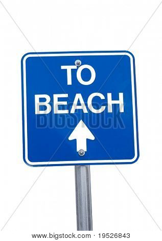 """to beach"" sign -isolated on white"