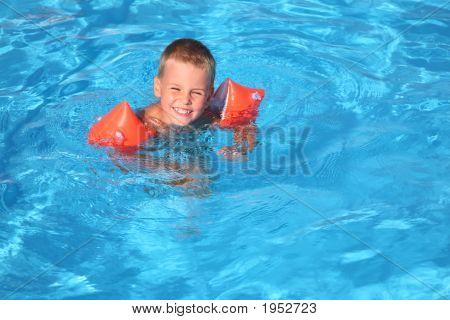 The boy floats