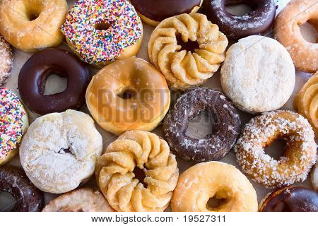 lots of donuts - different kinds - view from above
