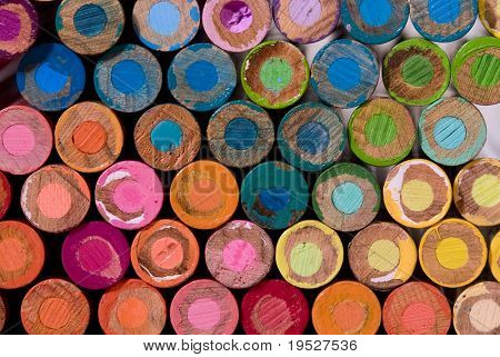 lots of colorful pencil crayon ends