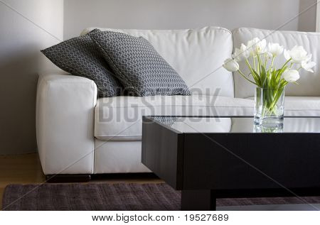 white tulips in modern living room