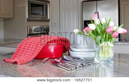 dinnertime - casserole, plates, flowers, in modern kitchen