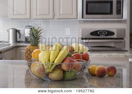 bowl of assorted fruit in modern grey kitchen