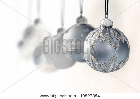 blue grey luxury christmas ornaments - focus on front ball - narrow DOF