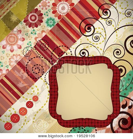 Scrap background made in the classic patchwork technique with floral stamps.
