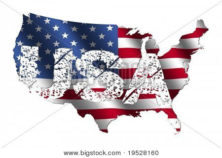 USA map flag with grunge text illustration
