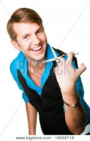 hairdresser man  with scissors on isolated white