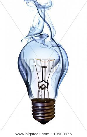 blue smoke lamp bulb art concept on white