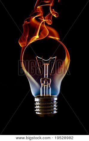 fire smoke lamp bulb art concept on black