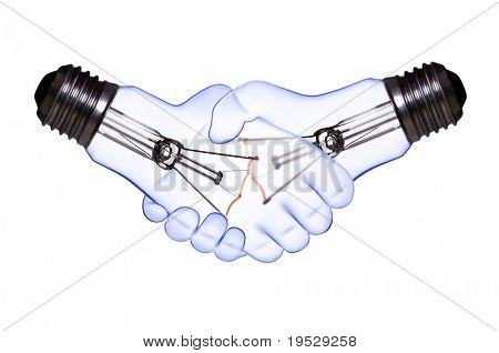 hand shake lamp bulbs on white with clipping path