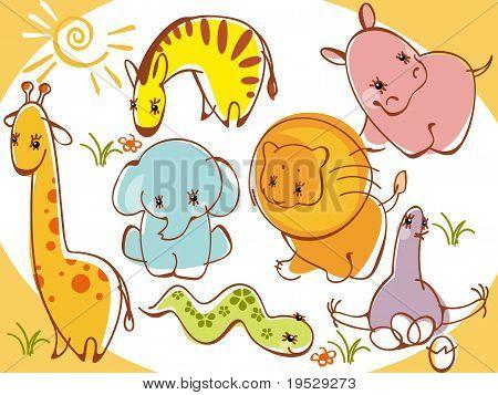 collection wild animals.