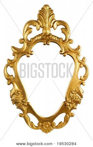 gold vintage metal frame isolated on white (with clipping path)