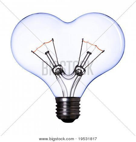 blue heart shape lamp bulb on white background