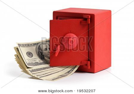 little red safe with the door open and a stack of dollar bills