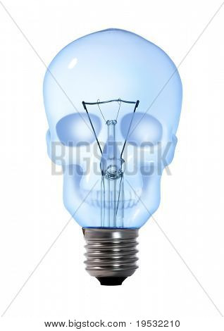 skull tungsten light bulb lamp on white background