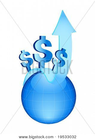 Business & Finance Icons. Blue globe with arrow and symbols of dollars