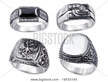 Stylish jewelry 42. Rings  with diamonds isolated on white background