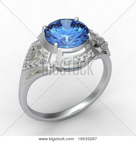 3d rendering of a blue topaz ring on white bacground