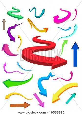Collection of business & finance colorful arrows. Make your reports or presentation more illustrative