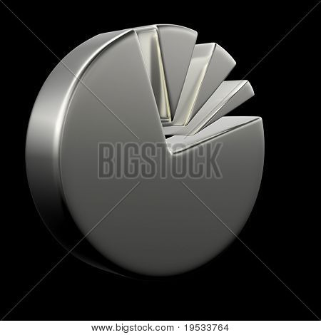 3D Circular diagram on black. Make your reports or presentations more illustrative.