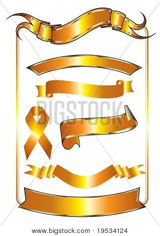 Vector set of gold ribbons in different shape and the symbol for solidarity with HIV positive and people living with AIDS