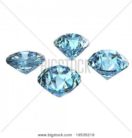 Round sky blue topaz isolated on white background. Gemstone