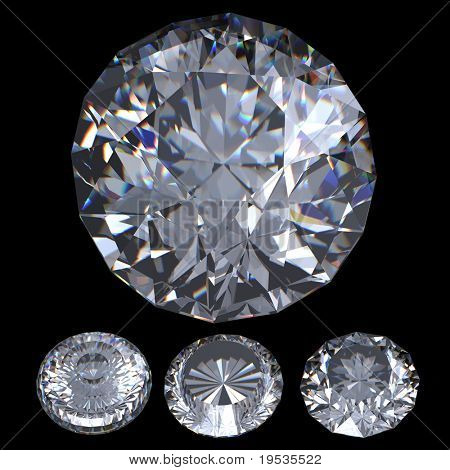 3Dd Round brilliant cut diamond perspective isolated on black background