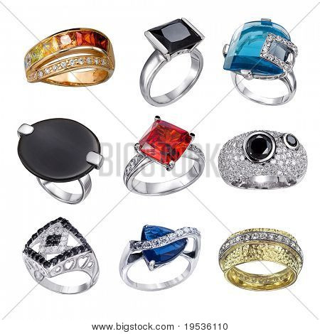 Stylish jewelry. Rings  with gems isolated on white background