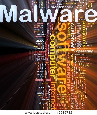 Ilustración de wordcloud de concepto de fondo de la luz que brilla intensamente de malware