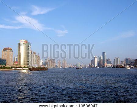 Shanghai riverfront and Huangpu River. (China)