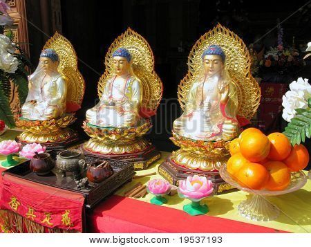Buddha Statues at Giant Wild Goose Pagoda in Xian, China.