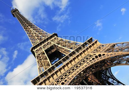 Abstract view of the Eiffel Tower in Paris, France.