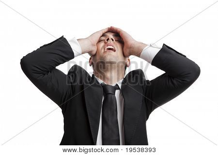 Young businessman worried with a bad business, isolated over a white background