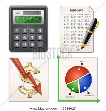 Financial Report Set. Calculator, pen, chart and financial report. Vector illustration.
