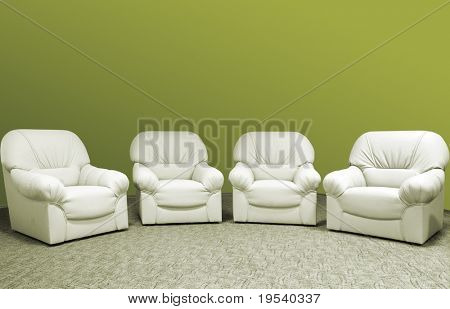 for green leather sofa in interior