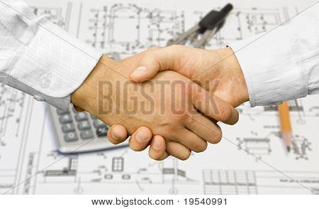 Businessman teamwork partners shaking hands