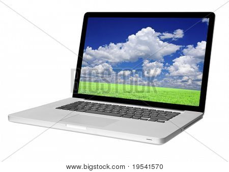 modern laptop isolated on white with shadow