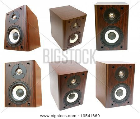 music. three speakers isolated on white background
