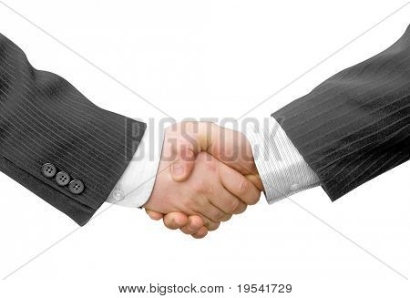 Handshake with modern skyscrapers as background