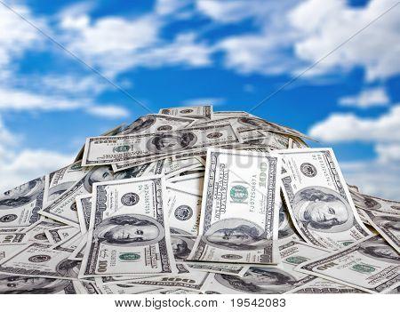 gran pila de dinero. dólares usa