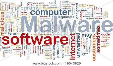 Background concept wordcloud illustration of malware